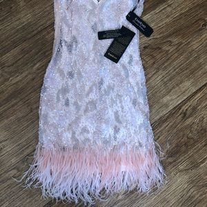 NWT! 💥 XS Bebe Sequin Feather Trim Dress
